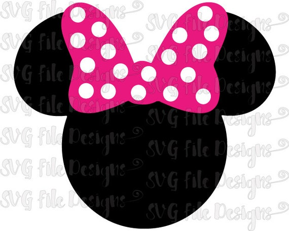 Minnie Mouse Head And Ears With Bow Disney By Svgfiledesigns