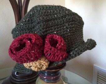 Flapper Hat, Green Tweed