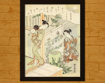 Printed on textured bamboo Art paper - Bamboo Paper Japanese Art Print Suzuki Harunobu Artwork Ukiyo-e Poster Wall Oriental Asian Art