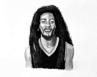 Bob Marley portrait painting print