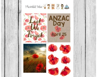 Mini Sticker Sheet - Anzac Day - planner stickers