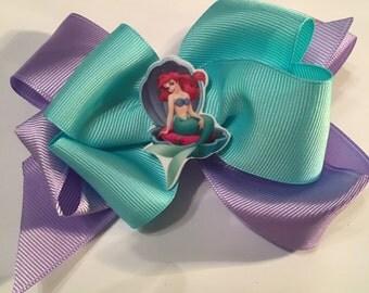 Little Mermaid Hair Bow Disney Hair Bow Ariel Hair Bow Light Aqua and Purple Ariel Bow Little Mermaid Center Ariel Resin Disney Princess Bow