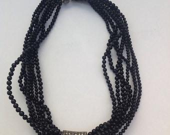 Amazing Vintage Art Deco Sterling Silver Black Onyx Marcastie Beaded Choker Necklace