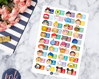 Disney Tsum Tsum Vacation Countdown Planner Stickers. Set of 40. Perfect for Erin Condren Life Planners! 105