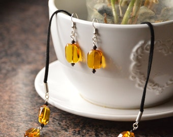 Citrine bead necklace and earring set