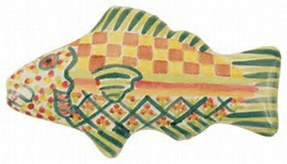 Mackenzie childs pottery green cabinet pull handle knob for Mackenzie childs fish rug