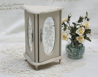 Vintage Etched Mirrored Glass Door Jewelry Box