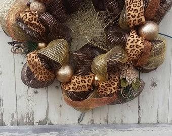 On Sale!!! Cheetah Print Deco Mesh Wreath