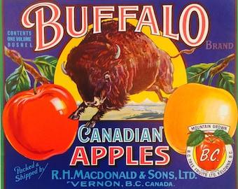 Vintage Fruit Crate Label for Buffalo Canadian Apples