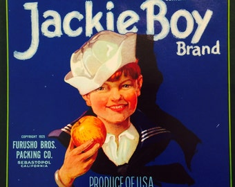 Vintage Fruit Crate Label for Jackie Boy Apples