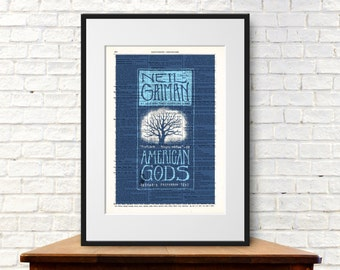 American Gods by Neil Gaiman. Book Cover Art Print