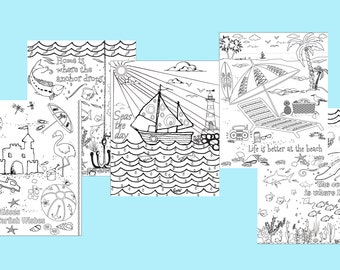 Beach coloring pages Set of 5 Instant download printable. PDF diy digital wall art. Kid or Adult coloring sheets. Ocean coloring pages.