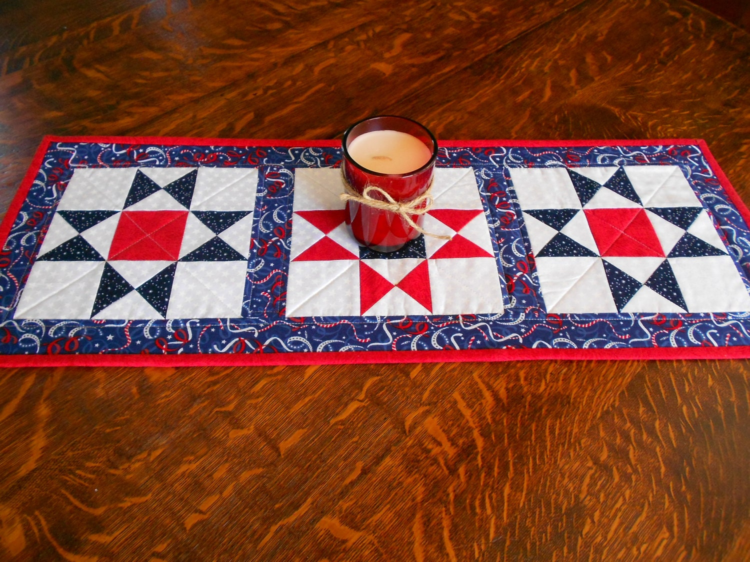 Quilted Table Runner/ Ohio Star Pattern Red White And Blue