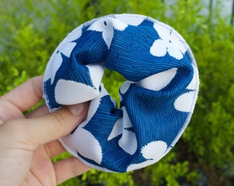 Blue with white flowers Scrunchie