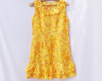 VINTAGE 70s Mini Dress With Ruffles