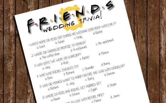 Printable FRIENDS Bridal Shower Game/ Wedding Trivia/