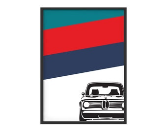 Bmw 2002 ti color graphic poster subject M Power