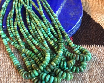 16 Inch Green Turquoise Rondell Bead Strands | 4-10mm, A Grade