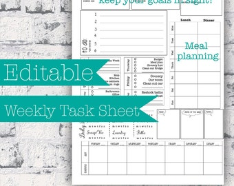 Editable Week at a Glance Detailed Task Sheet and Monthly calendar--includes cleaning tasks and meal planning and weekly goals