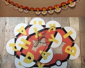 Handmade Pokemon Happy Birthday Banner