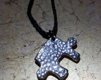 One-of-a-kind Pewter Puzzle Piece Pendant