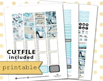 PRINTABLE Planner Stickers/Planner Stickers for use with Erin Condren Life Planner/Weekly Planner Sticker Kit/Silhouette Cutfiles/Download