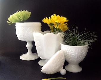 Vintage Milk Glass Planters - Milk Glass Vases - Covered Milk Glass Dish - Set of 3 MILK Glass Pieces