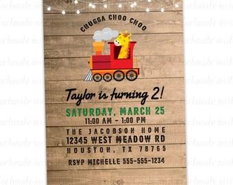 train birthday invitation, giraffe invitation, choo choo 2nd birthday party invitation, animal invitation printable or printed invites