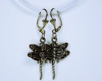 Earrings pair dragonflies in silver closed hanging earrings jewelry dragonfly