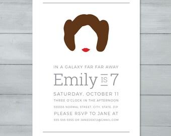Princess Leia Star Wars Birthday Party Invitation     Princess Leia Star Wars Invite     Star Wars Invitation     Star Wars Invite
