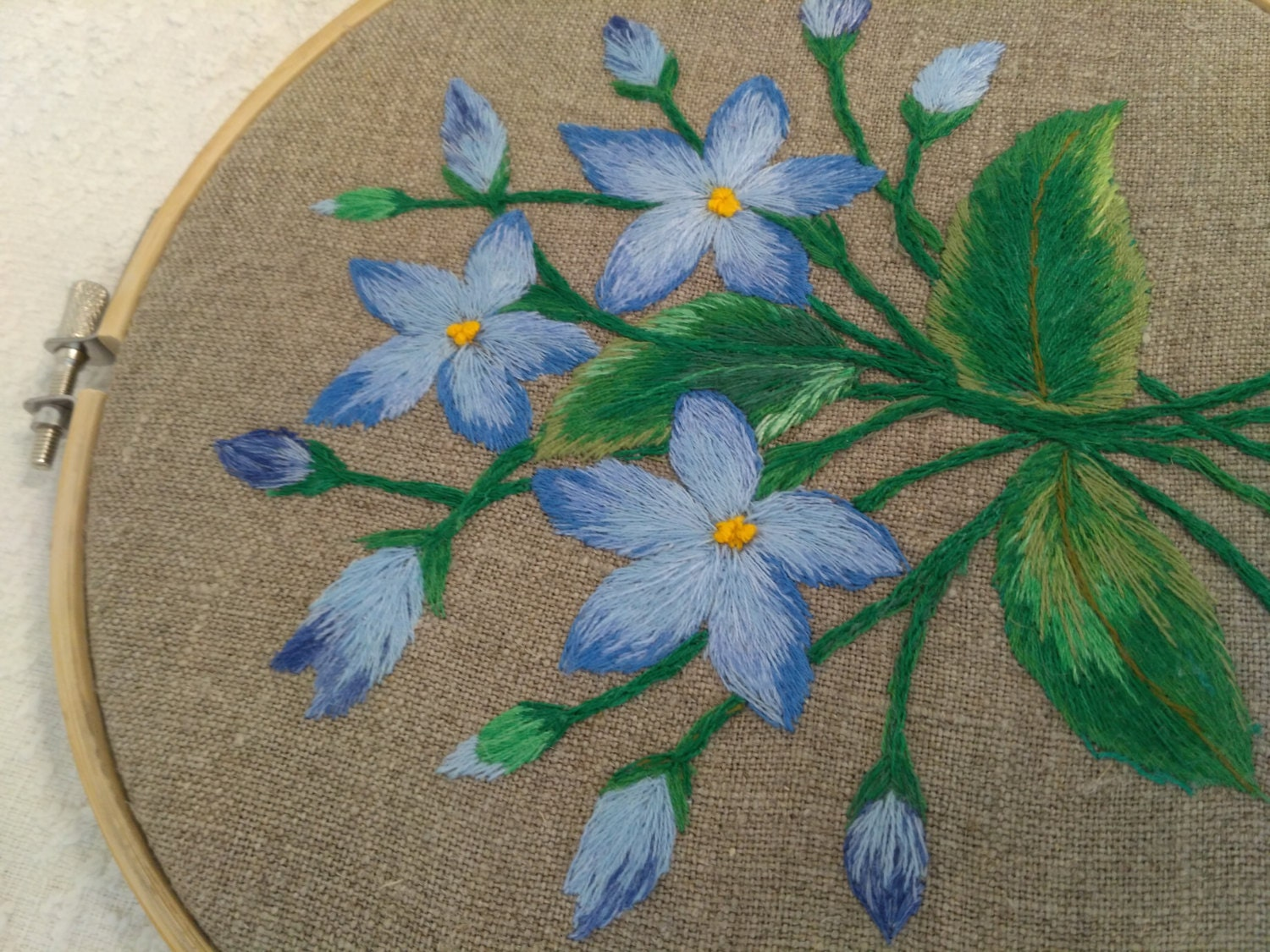 Hand embroidered bluettes blue flowers rustic home decor