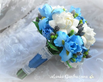 Alternative wedding bouquet with blue iris and white peony roses, exclusive everlasting wedding decoration, everything looks like real