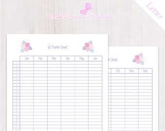 Letter 12 month chart Pastel Pink Flowers, Monthly calendar, yearly planner, year at a glance, year on two pages