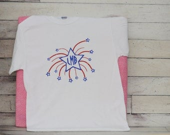 4th of July-Fourth of July Holiday Monogram Shirt