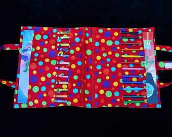 Red Spot 'Wick' Art Caddy, fabric art caddy, Handmade art caddy, pencils, colouring
