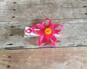 Pink ribbon flower hair clip, alligator clip
