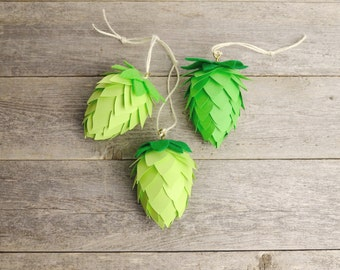 Hop Cone Ornament Trio / Beer Gifts / Christmas Ornament / Brewing Gifts / 3-Pack