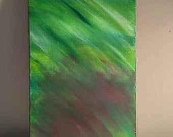 Lime & mauve, abstract acrylic painting, 10x20