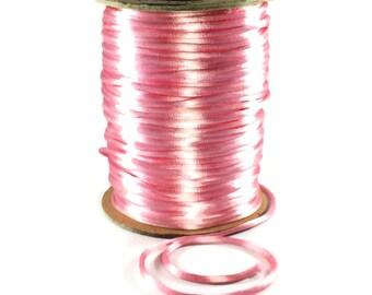 Pink Satin Cording / 3mm Pink Cording / 3mm Pink Rattail / Pink Cording / 10 FEET