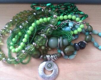 6 green bead necklace & 1 bracelet