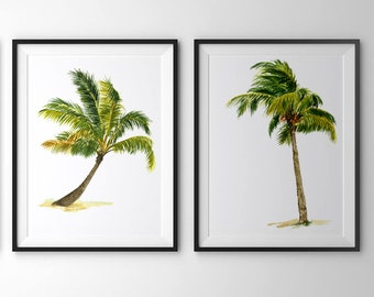 Palm tree print.Palm tree art.Set of 2 prints.Palm tree watercolor.Palm tree wall art.Palm tree painting
