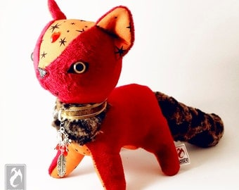 BloodCat - Cute Halloween Themed Plushie - Original Handmade Cat Plush - Red GemCat (made to order)
