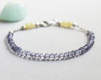 Delicate Iolite & Jade Gemstone Bracelet w/ Sterling Silver, Minimal Healing Jewelry 2mm Purple 4mm Yellow Semi Precious Stone Beads