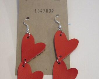 2 Heart Red Leather Earrings