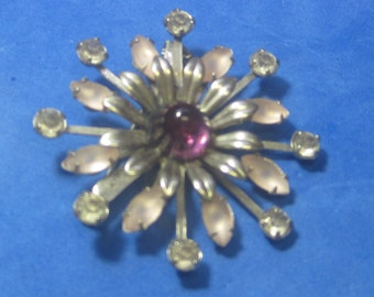 VINTAGE Antique Brooch Pink White Red Jewels BY Coro