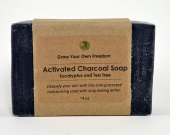 Organic Soap: Activated Charcoal Soap with Eucalyptus and Tea Tree || Black Soap || Facial Soap for Oily Skin || Acne Soap for Oily Skin