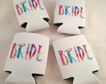 "tie dye ""bride"" beverage holder // bride to be gift"