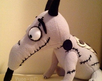 "Sparky Dog plush handmade character movie Tim Burton's ""Frankenweenie"""