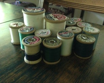 Vintage Coats and Clarks wooden thread spools