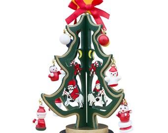 "6.5"" Wooden Tabletop Christmas Tree with 12 Santa, Snowman, Christmas Balls Miniature Wooden Ornaments- SKU # HY-5985G"